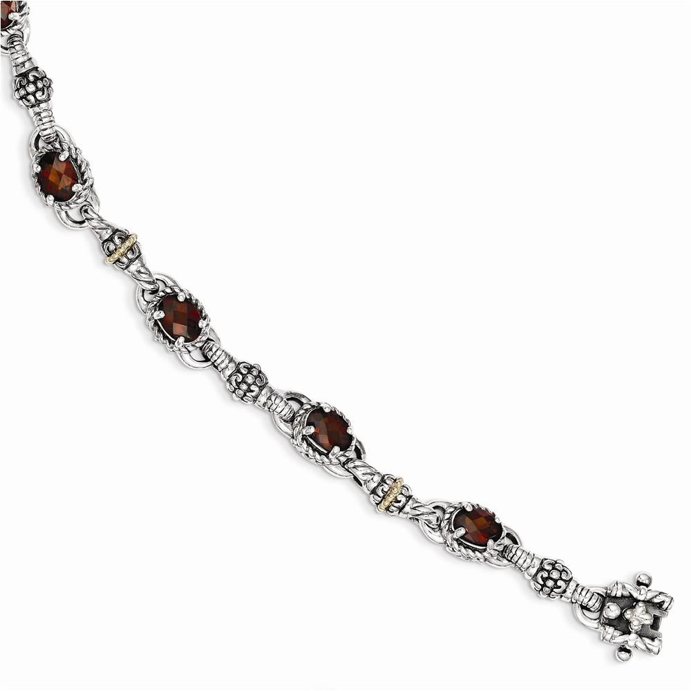Sterling Silver w 14k Oval Garnet Bracelet by