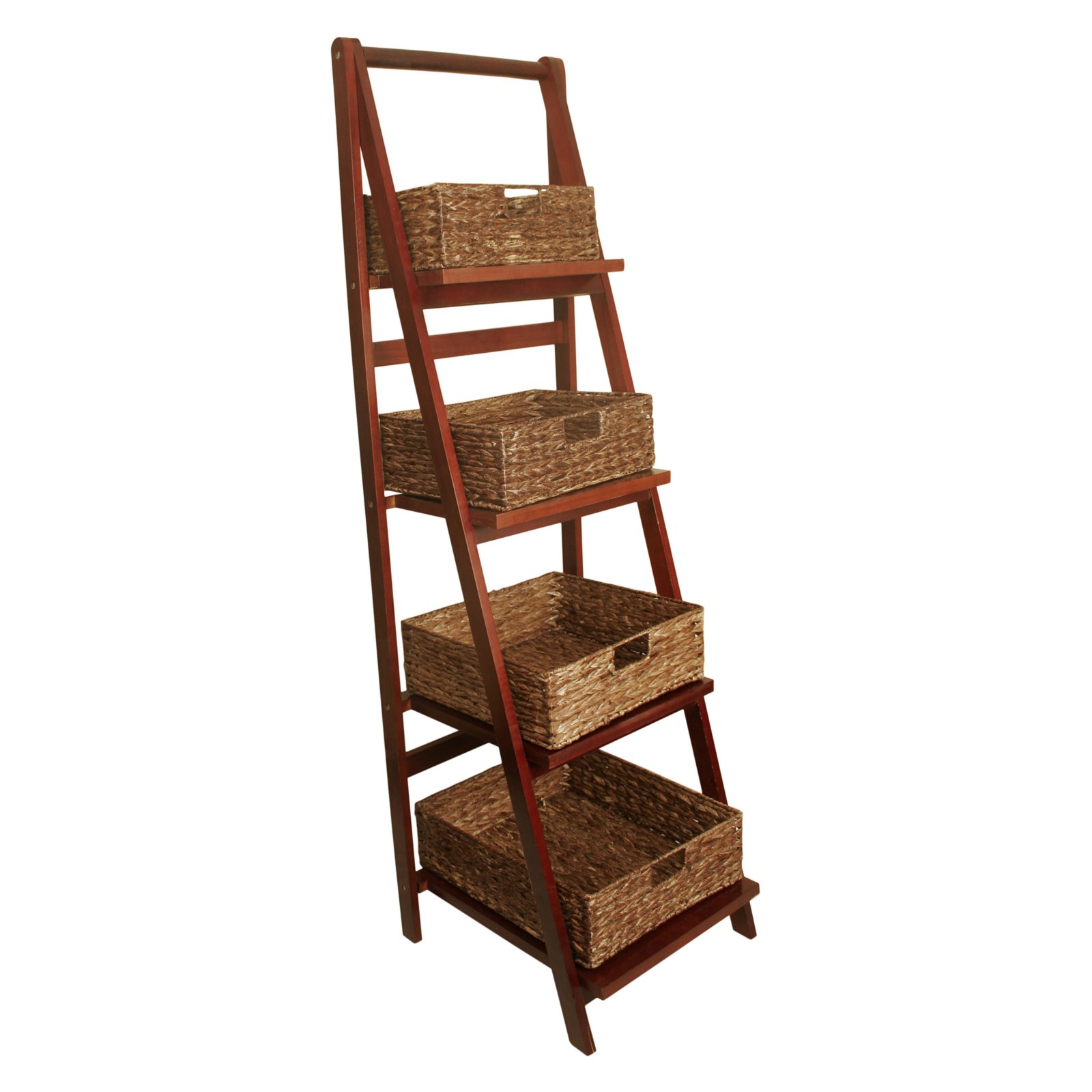 Wald Import Ladder Shelf with Storage Baskets