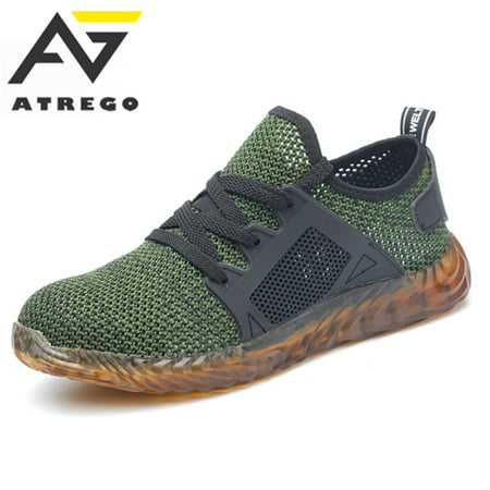 ATREGO Men's Safety Work Shoes Steel Toe Boots Outdoor Sneakers for Hiking Climbing Sport