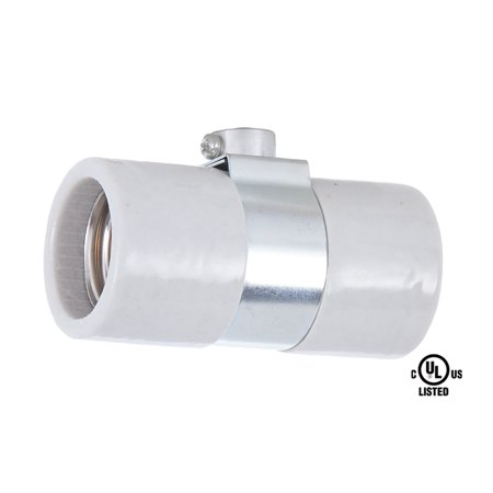 B&P Lamp® Twin Med. Base, Glazed Porcelain Socket with single 1/8IP bushing strap