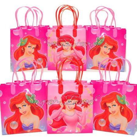 12 Little Mermaid Party Favor Bags Ariel Birthday Candy Treat Favors Gifts Plastic Bolsas De Recuerdo