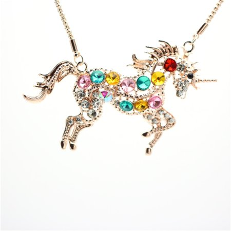 Multicolor Crystals Tarnish Resistant Goldtone Unicorn Necklace Pendant Jewelry, J-150-BU - Unicorn Necklace