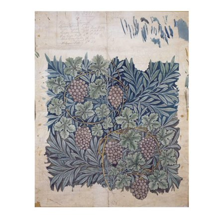 Leaf and Grape Design for 'Vine' Wallpaper (Pencil and W/C on Paper) Print Wall Art By William Morris (William Morris Wallpaper Design)