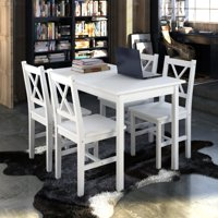 vidaXL Wooden Table with 4 Chairs Furniture Set White