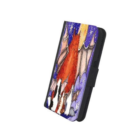 KuzmarK Samsung Galaxy S4 Wallet Case - Batty Kitty Family & Full Moon Halloween Cat Art by Denise Every (S4 Dallas Halloween)