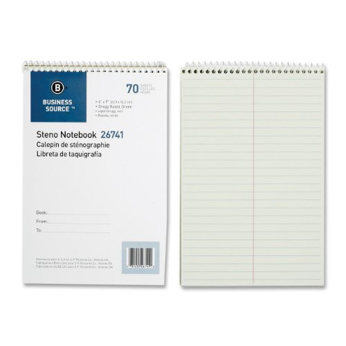 """26741 Business Source Steno Notebook - 70 Sheets - 15 lb Basis Weight - 6"""" x 9"""" - 1Each - Green Paper"""