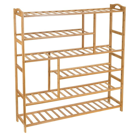 Bamboo Shoe Rack 6-Tier Entryway Shoe Shelf Storage Organizer Free Standing Shelves, - Freestanding Wood Grill