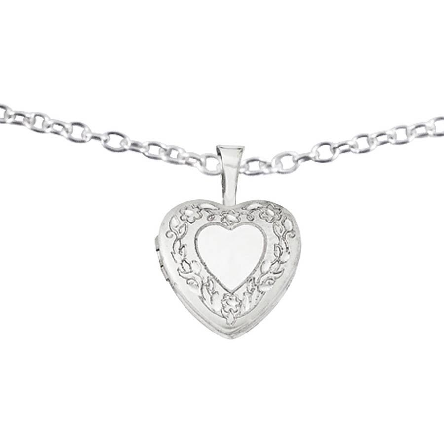 Sterling Silver Flower Border 12mm Heart Locket by Generic