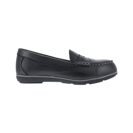 Rockport Works Womens Black Leather Work Shoes Top Shore Penny Loafer Steel Toe 8 M Scrunch Leather Footwear