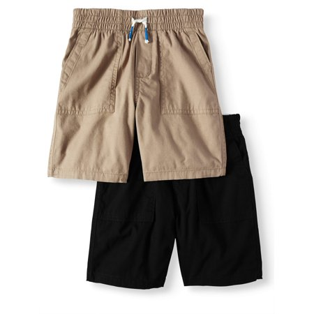 - Toddler Boys' Canvas Pull On Utility Shorts, 2-Piece Multi-Pack