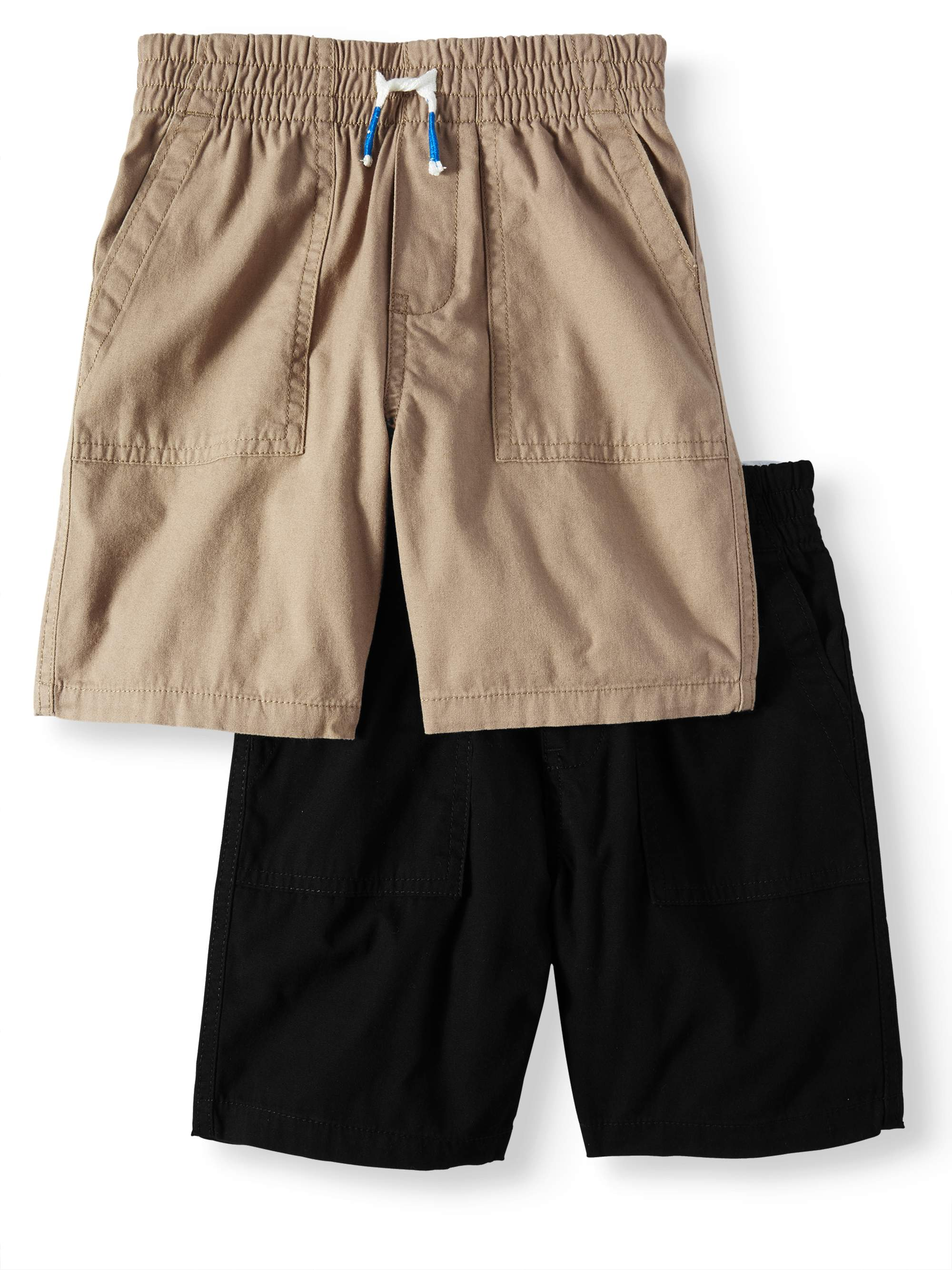 Toddler Boys' Canvas Pull On Utility Shorts, 2-Piece Multi-Pack