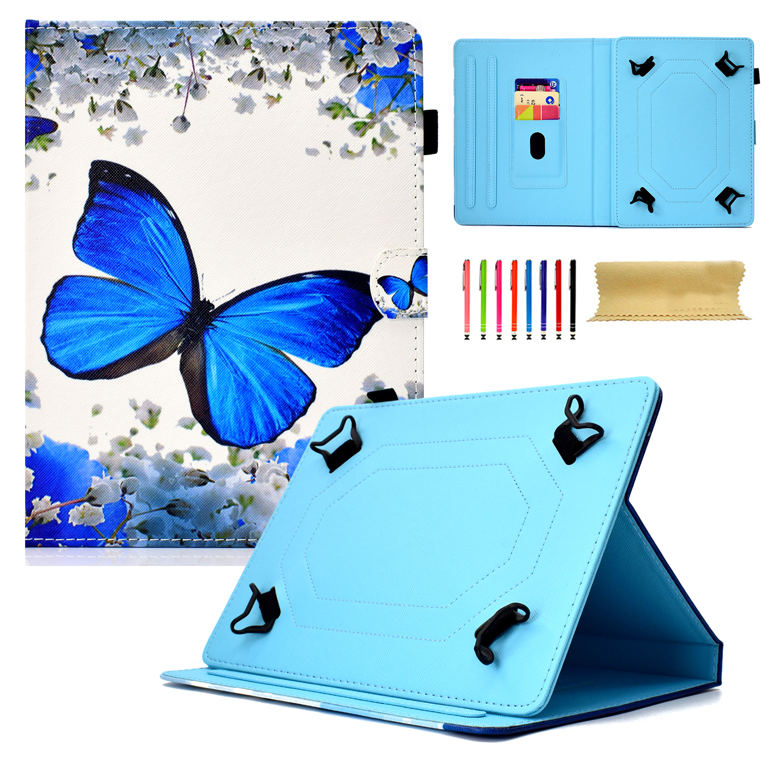 "Goodest Universal 8 Inch Tablet Case, Slim Fit Folio Protective Stand Wallet Cover for 7.5-8.5"" Tablet 8"" Touchscreen/iPad Mini/Galaxy Tab A/Fire HD 8/RCA/Chrome Nextbook iView, Floral Butterfly"