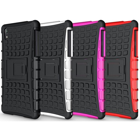 NAKEDCELLPHONE PURPLE GRENADE GRIP RUGGED TPU SKIN HARD CASE COVER STAND FOR SONY XPERIA Z2 PHONE / D6503 / L50W - image 3 de 7