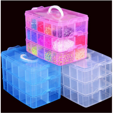 Plastic Clear Jewelry Bead Organizer Box Storage Container Case Craft Tool New,Blue color