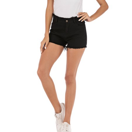 Junior's High Waisted Frayed Stretch Denim Shorts Jean Plus Size Soft Touch Fray Hem Denim Short M-3XL Black
