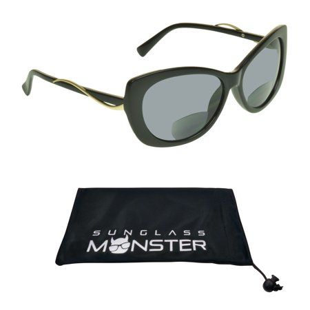 Sunglass Monster Womens BIFOCAL Sunglasses Sun Readers with Cat Eye Oversized Sexy High Fashion (Latest Sunglass Fashion)