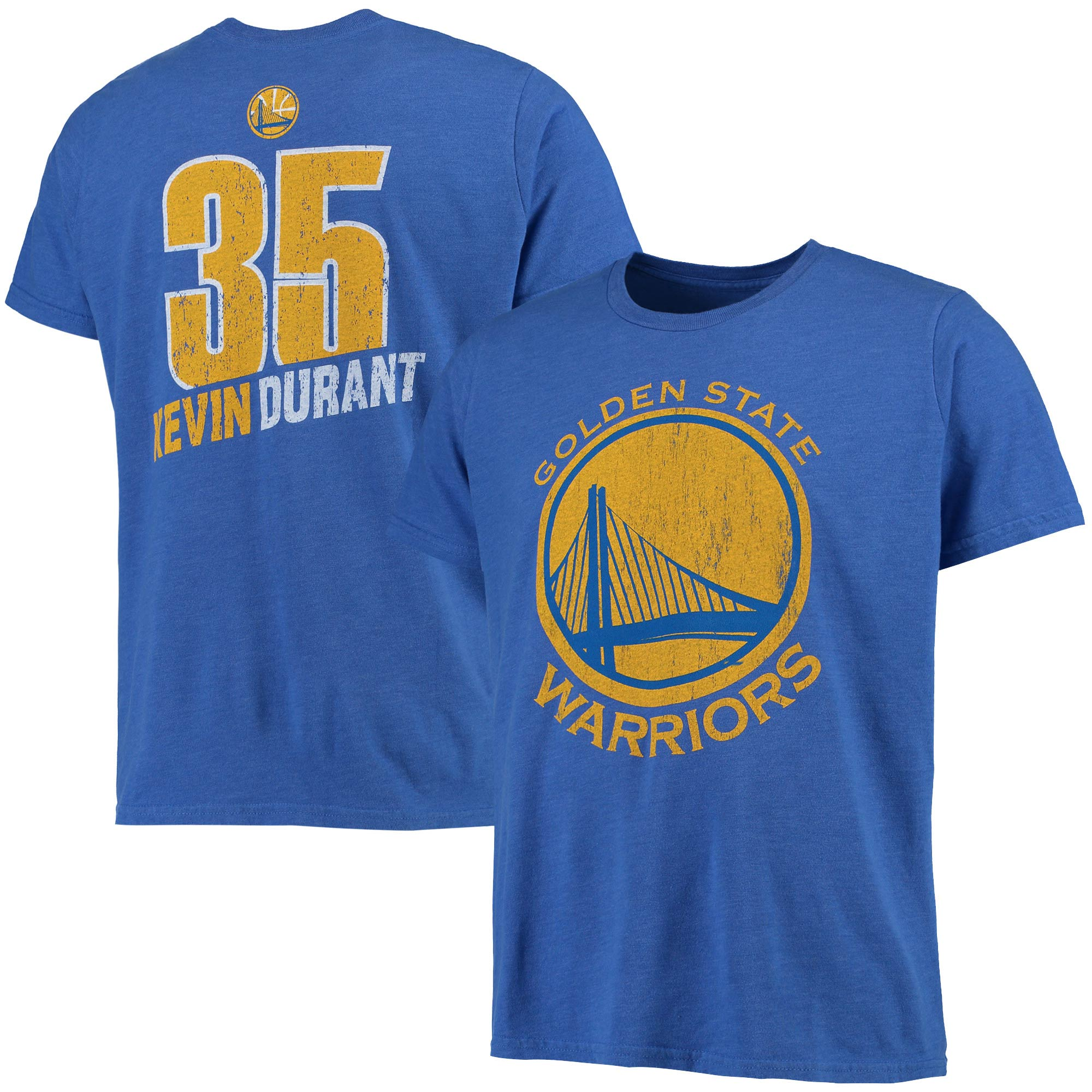 Kevin Durant Golden State Warriors Majestic Threads Name and Number Tri-Blend T-Shirt - Royal