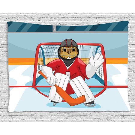 Hockey Tapestry, Cartoon Style Beaver Plays as a Goalkeeper Fun Activity for Kids Theme Animal Mascot, Wall Hanging for Bedroom Living Room Dorm Decor, 60W X 40L Inches, Multicolor, by - Beaver Mascots