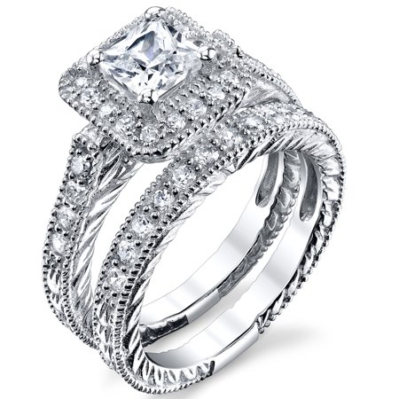 Princess Cut Designer inspired, Carved Sterling Silver Engagement Ring Wedding Band Bridal Set W/ Cubic