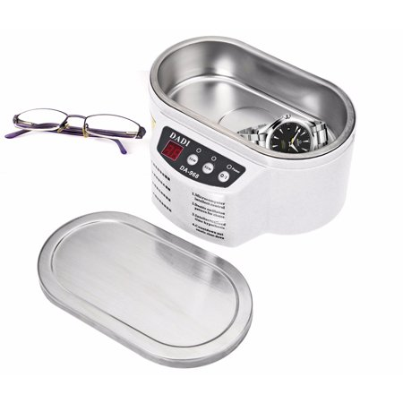 600ML Exquisite Stainless Steel Ultrasonic Cleaner Digital Ultrasound Wave Washing Unit for Jewelry Glasses (with Steel Lid) U.S.