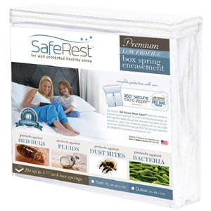 SafeRest Premium Low Profile Box Spring Encasement - 100% Waterproof, Bed Bug Proof, Hypoallergenic (Multiple Sizes) - 360 Secure Micro Zipper - 10-Year Warranty