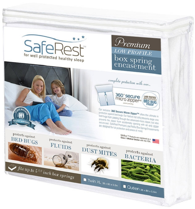 SafeRest Premium Box Spring Encasement - 100% Waterproof, Bed Bug Proof, Hypoallergenic (Multiple Sizes) - 360 Secure Micro Zipper - 10-Year Warranty