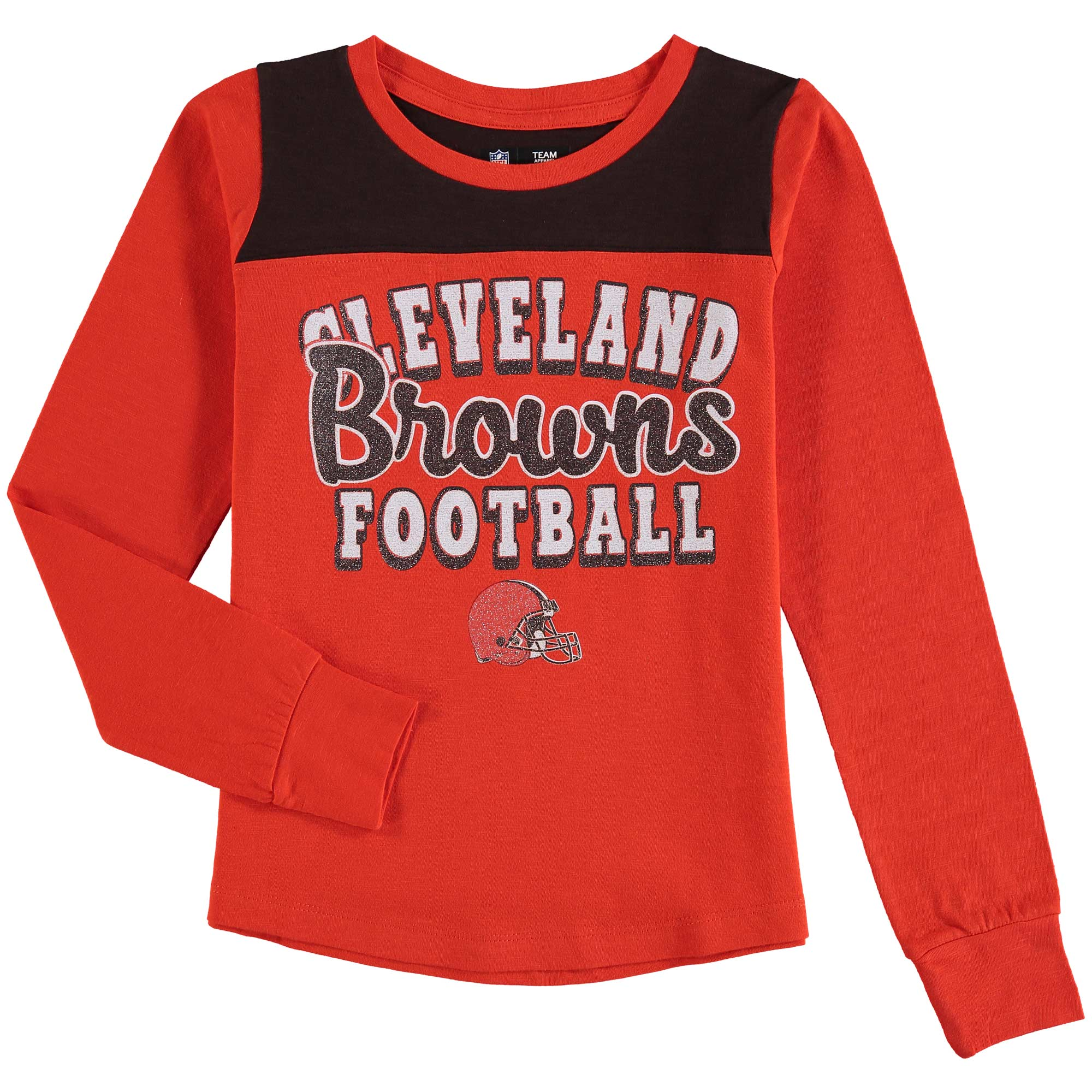 Cleveland Browns 5th & Ocean by New Era Girls Youth Glitter Football Long Sleeve T-Shirt - Orange