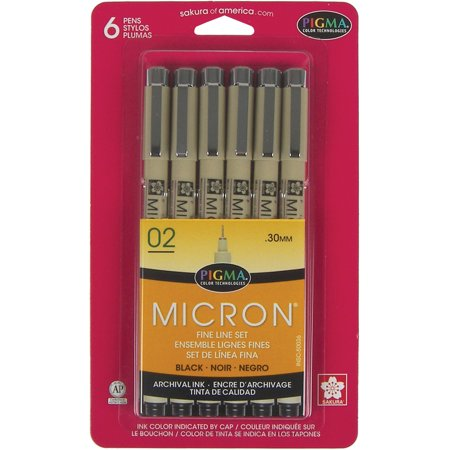 Pigma Micron Pens 02 .3mm 6/Pkg-Black 240 Pin Micron Chip