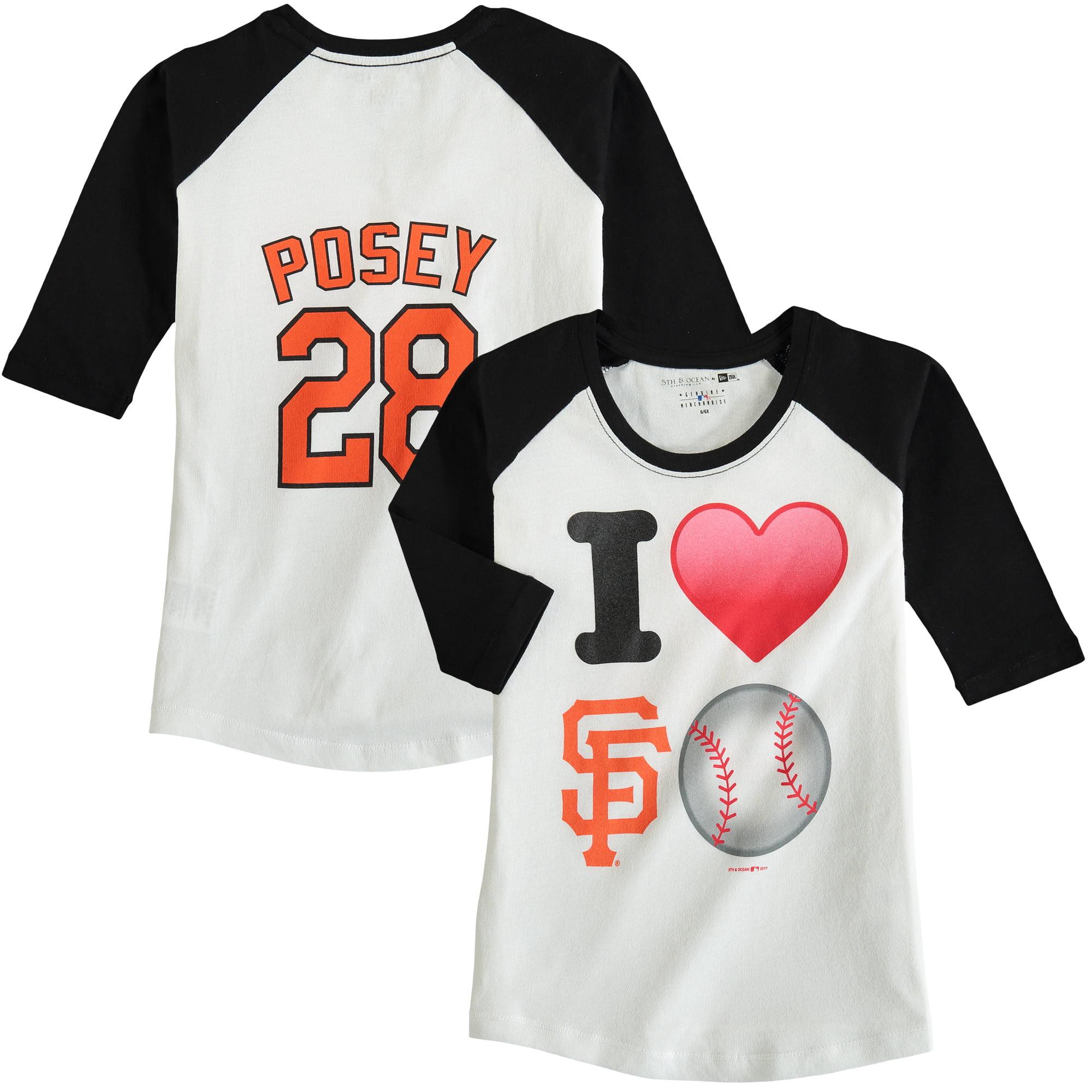 Buster Posey San Francisco Giants 5th & Ocean by New Era Girls Youth Emoji Love Player Name & Number 3/4-Sleeve Raglan T-Shirt - White/Black