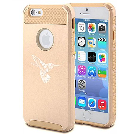 (For Apple iPhone 7 Shockproof Impact Hard Soft Case Cover Tribal Hummingbird (Gold))