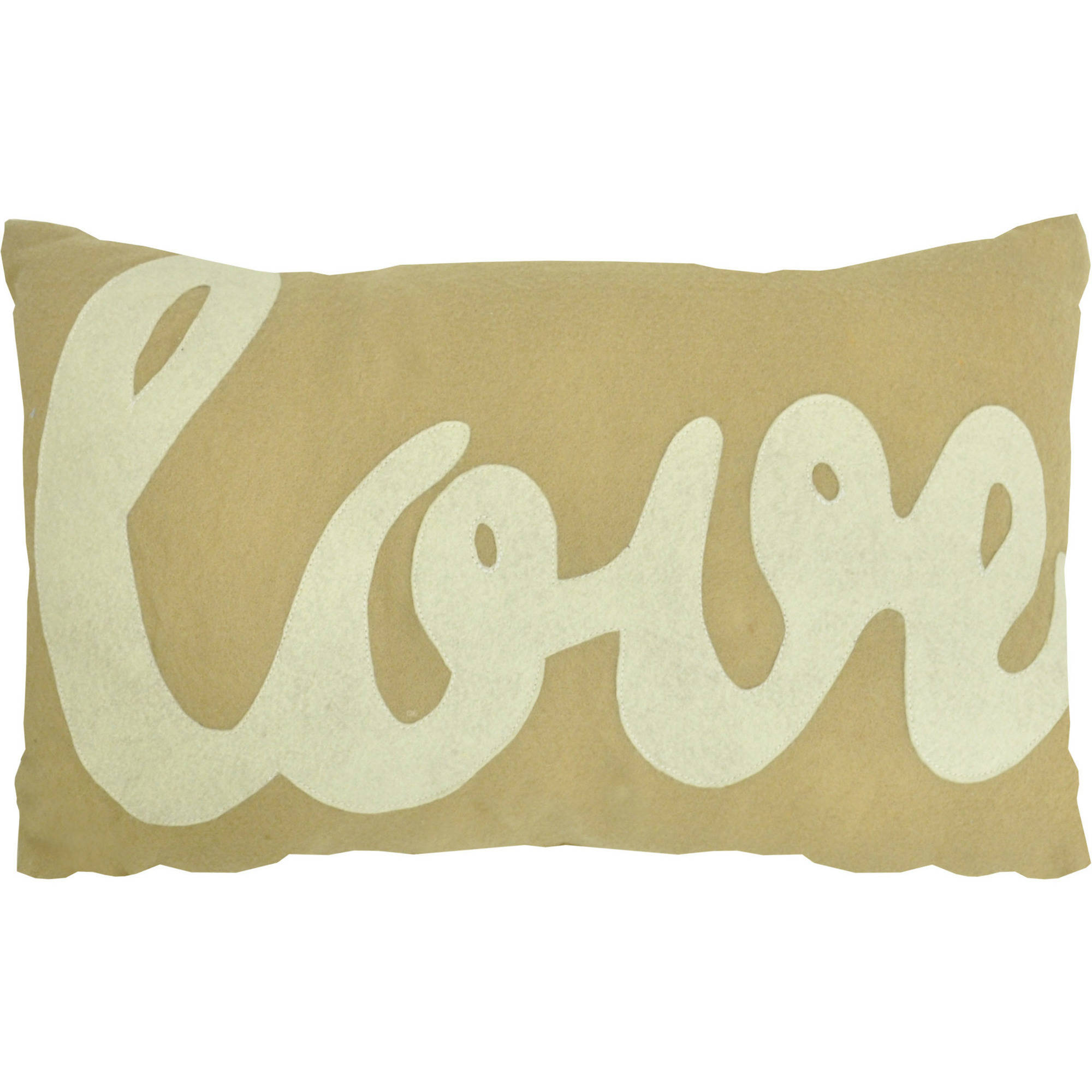 Urban Shop Felt Love Word Decorative Pillow, Taupe with White