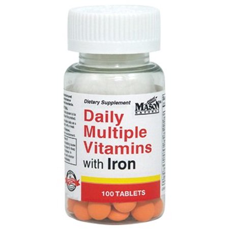 Mason Natural Daily Multiple Vitamins with Iron Tablets, 100