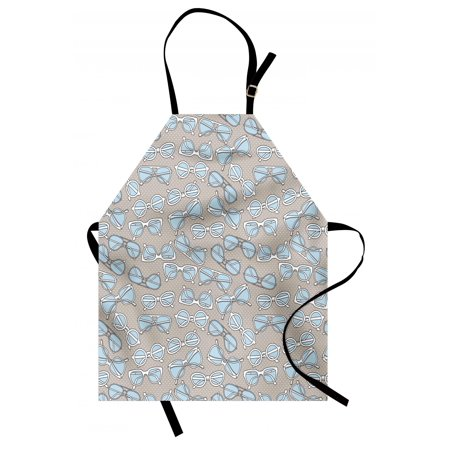 Retro Apron Vintage Hipster Glasses Pattern on Polka Dots Backdrop Eyesight Optic Design, Unisex Kitchen Bib Apron with Adjustable Neck for Cooking Baking Gardening, Pale Blue Tan White, by Ambesonne