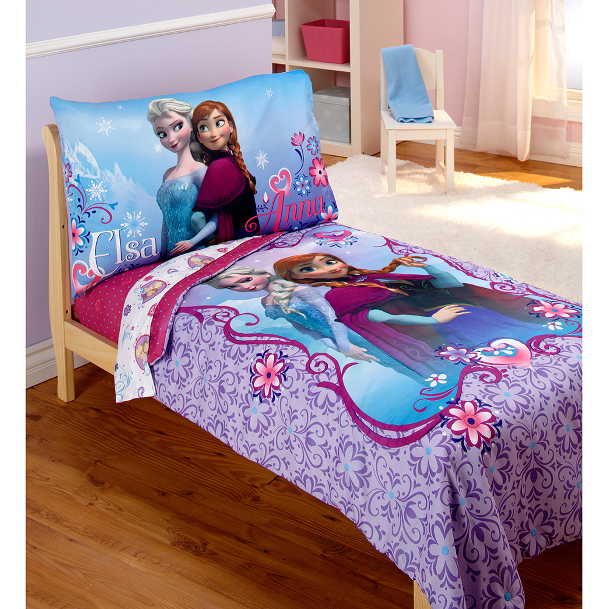 Disney Frozen Elsa & Anna 4pc Toddler Bedding Set