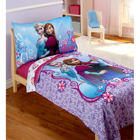 Disney Frozen Elsa & Anna 4-Piece Toddler Bedding Set - Walmart.com