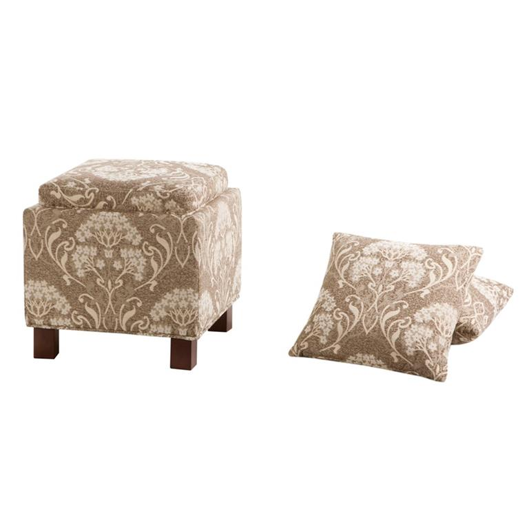 Madison Park Shelley Square Storage Ottoman with Pillows In Taupe