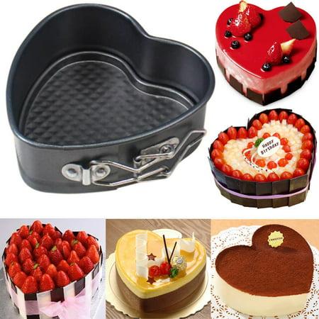 Tuscom Heart-Shaped Cake Tin Non Stick Spring Form Loose Base Baking Pan Tray (Heart Shaped Baking Tins)