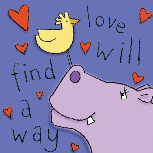 """Love Will Find A Way"" Hippo Wall Art"