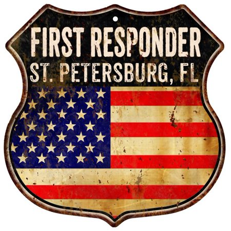 ST  PETERSBURG, FL First Responder USA 12x12 Metal Sign Fire Police  211110022072