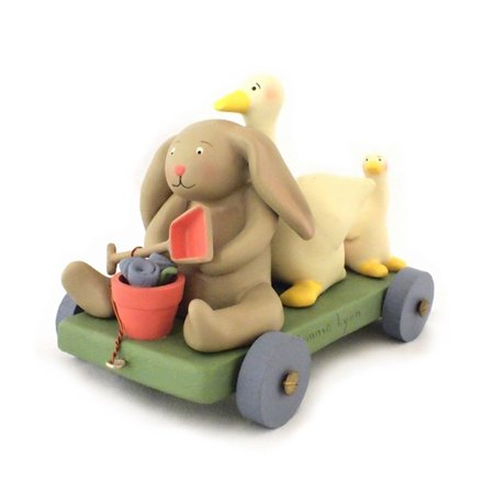 Springhaven Lake Figurine Bunny and Duck Wagon by Russ, By Russ Berrie Ship from US - Duck Or Bunny