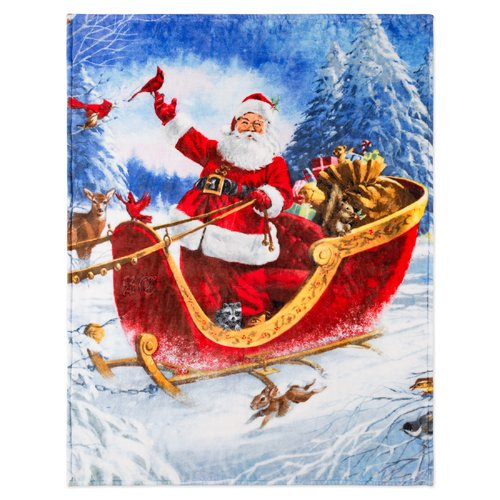 The Holiday Aisle North Christmas Forest Santa Ultra Soft Throw