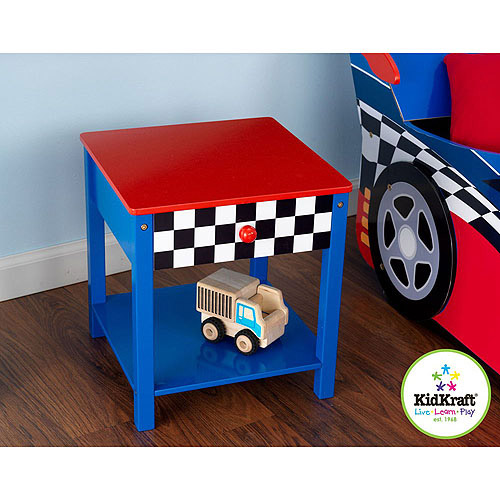 KidKraft Race Car Side Table, Red/Blue