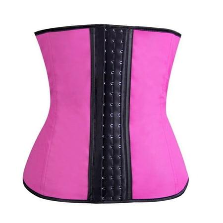 Body Shape Latex Underbust Corset Waist Training Cincher For Women - Pink ()