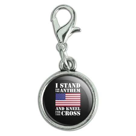 I Stand For The Flag Kneel Cross USA American Flag Patriotic Antiqued Bracelet Pendant Zipper Pull Charm with Lobster - Stand Flag Pendant