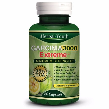 Lafebers Daily Diet - Herbal Youth 3000 mg Daily GARCINIA CAMBOGIA HCA 95% Fat Burners Diet Weight Loss Capsules (60 Capsules / Bottle)