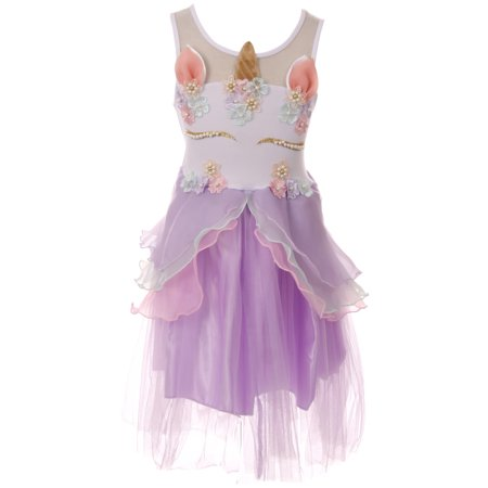 Toddler Girls Lovely Unicorn Pearl Tutu Tulle Birthday Party Flower Girl Dress Lilac 2T XS (P060818P)