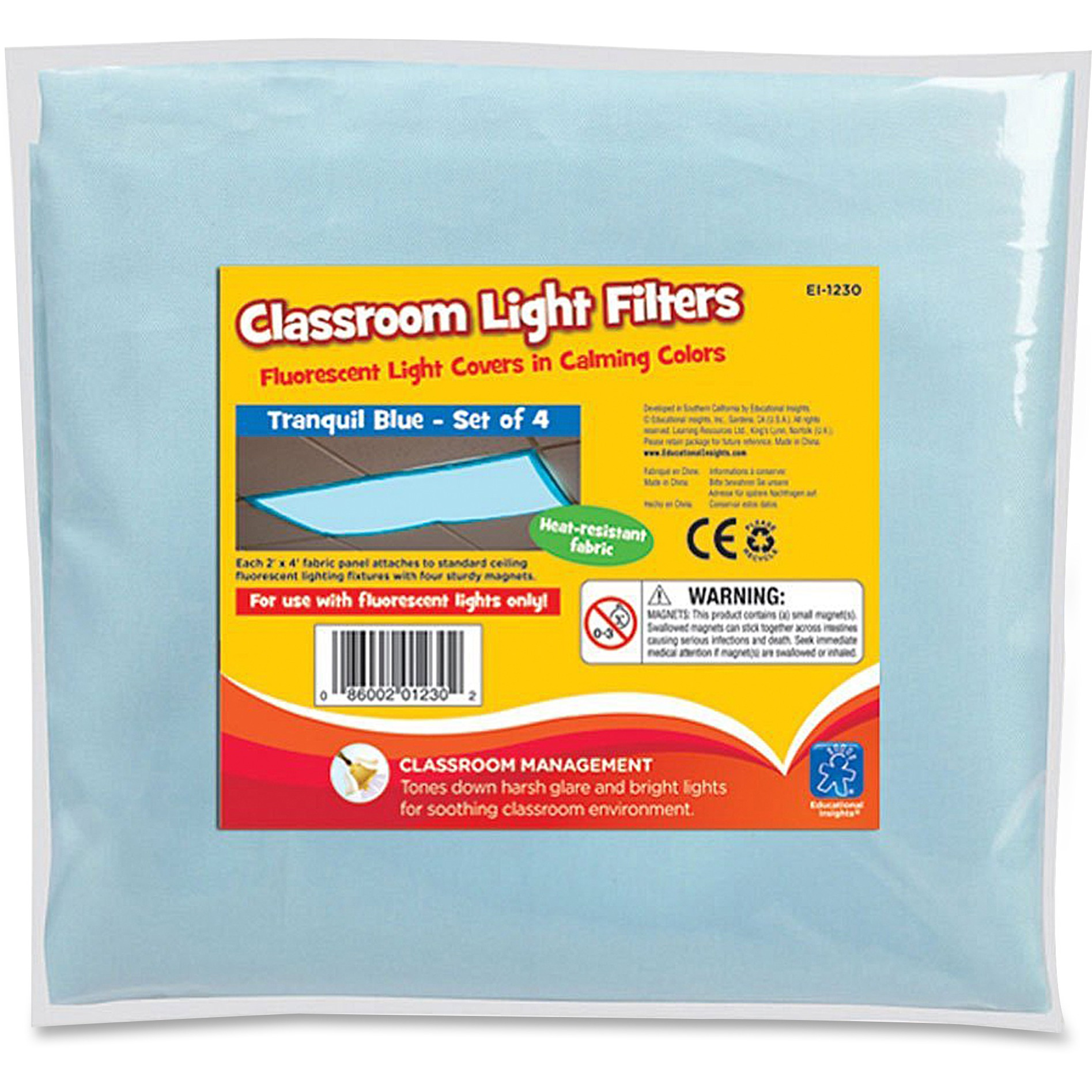 Educational Insights, EII1230, Classroom Fluorescent Light Cover, 4 / Pack, Blue - Filter