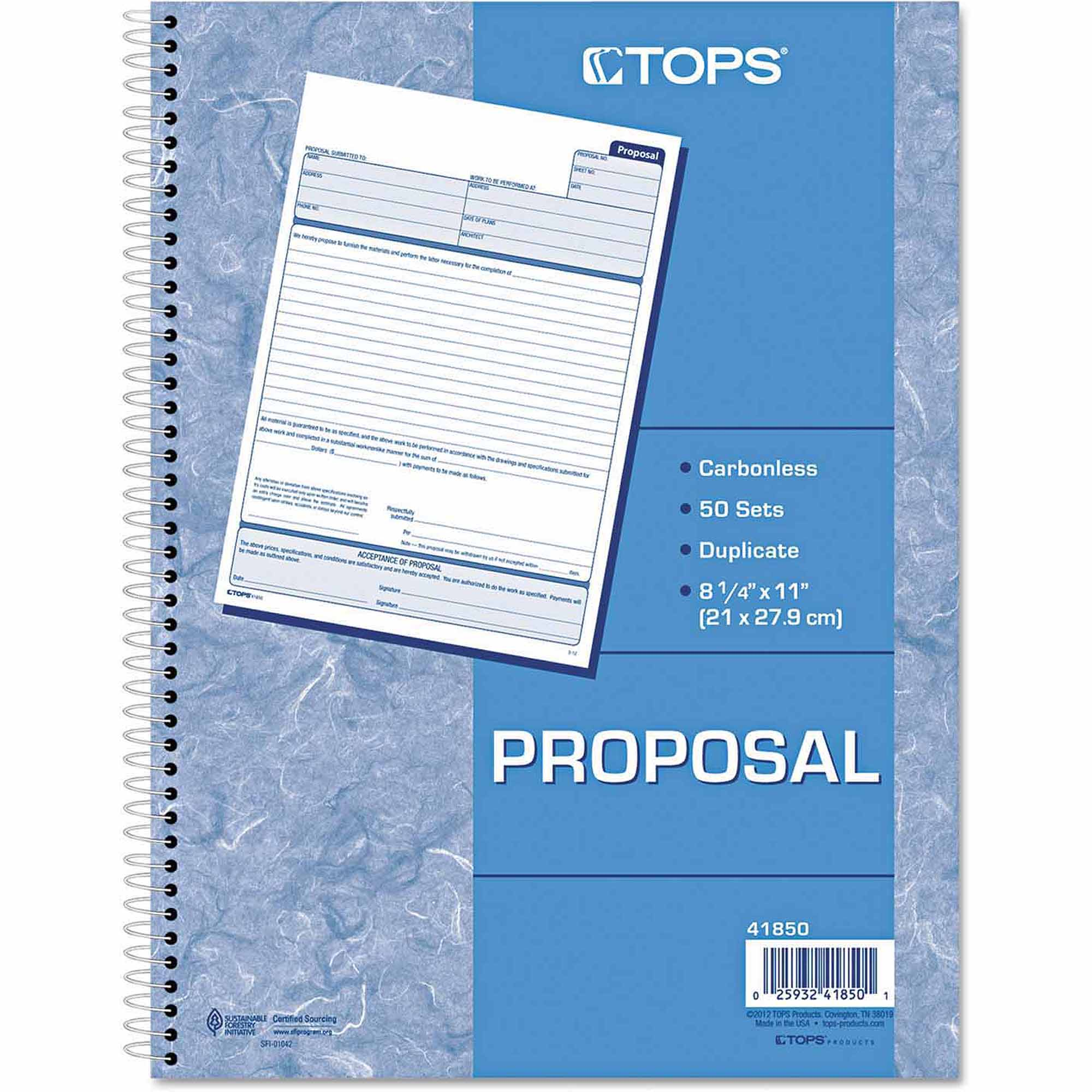 "TOPS Spiralbound Proposal Form Book, 8.5"" x 11"", 2-Part Carbonless, 50 Sets/Book"