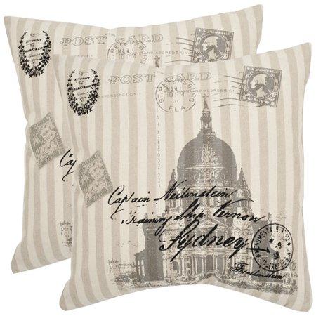 Ramie Cotton Blend (Safavieh Lucas Ramie Cotton Throw Pillow (Set of 2))