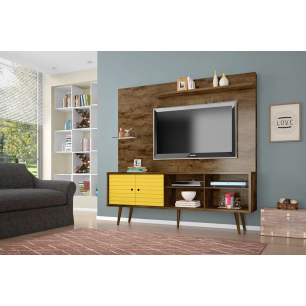 "Manhattan Comfort Liberty 70.87"" Freestanding Entertainment Center with Overhead shelf in Rustic Brown and Yellow"